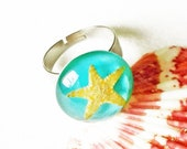 Starfish ring, Real starfish jewelry, Mermaid resin ring, Summer ring, Blue resin ring, Beach jewelry, Summer jewelry for woman, Beach ring