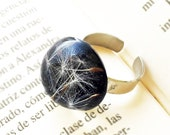 Real Dandelion Seeds ring, Positive energy gift, Adjustable open ring, Black eco resin ring, Good luck ring for her, Real dandelion jewelry