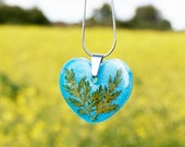 Blue heart necklace, Real leaf necklace, Heart shaped necklace, Unique birthday gift, Heart jewelry Love heart necklace Pressed leaf jewelry
