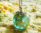 Ocean resin necklace, Real starfish necklace, Mermaid necklace, Sea shell necklace, Terrarium jewelry, Summer necklace, Gift for a woman