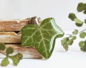 Boho necklace eco, Dried ivy leaf necklace, Nature inspired jewelry, Eco friendly gift for him, Organic resin jewelry, Eco friendly necklace