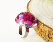 Resin rose ring, Real rose flower ring, Unique gift for mother, Resin flower jewelry, Big rose ring, Dried rose jewelry, Real rose bud ring