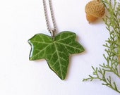 Forest leaf necklace, Real ivy necklace, Green leaf necklace, Forest jewelry, Ivy jewelry, Christmas gift idea, Forest necklace, Forest gift