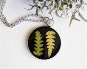 Dainty black necklace, Dainty pressed fern necklace, Small black pendant, Dainty leaf necklace, Real fern pendant, Fern necklace silver