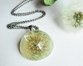 Wishes necklace, Dried dandelion necklace, Graduation 2021 gift for her, Graduation necklace for daughter, Make a wish jewelry Wish necklace