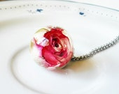 Real rose pendant, Dried rose pendant, Pink rose necklace, Rose resin jewelry, Rose bud necklace, Women's gift ideas, Dried flower jewelry