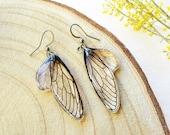 Bohemian earrings dangle, Cicada wing jewelry, Fantasy animal earrings, Boho chic earrings, Anime earrings dangle, Insect wing earrings