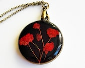 Pressed flower necklace, Red flower necklace, Mother jewelry gift, Double sided pendant, Unique gifts for mother, Pressed flower pendant