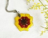 Autumn necklace, Pressed flower jewelry, Unique birthday gift for her, Autumn gift, Sunflower necklace, Autumn jewelry Dried flower necklace