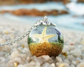 Ocean inspired necklace, Wanderlust necklace, Real beach sand necklace, Tiny starfish jewelry, Ocean lover gift for traveler, Summer jewelry
