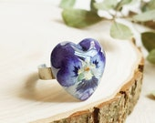 Blue Pansy Ring, Heart shaped ring, Real pansy jewelry, Delicate flower ring, Gifts for girlfriend, Viola pansy jewelry, Tiny heart ring