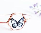 Butterfly bracelet rose gold, Resin bracelets for women, Geometric jewelry, Bangle cuff bracelet, Fairytale gifts, Blue butterfly jewelry