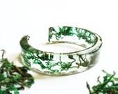 Resin bangle bracelet, Real Moss Bracelet, Green bangle bracelet, Terrarium bracelet, Resin Bracelet Moss jewelry Adjustable bangle bracelet