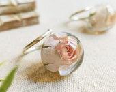 Pink rose ring, Dried rosebud ring, Rose flower ring, Delicate rose ring, Light pink rose jewelry, Rose adjustable ring, 925 sterling ring