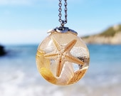 Boho beach necklace, Starfish Necklace, Clear resin necklace, Sea shells necklace, Bridesmaids Gift, Boho wedding necklace, Bohemian jewelry