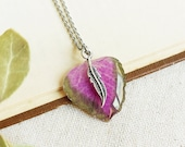Delicate leaf necklace, Pressed leaf necklace, Nature lover jewelry, Romantic necklace, Nature lover gift for her, Unique romantic gifts