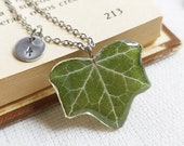 Personalized nature necklace, Pressed leaf necklace, Personalized initial necklace, Explorer necklace, Personalized gift idea, Explorer gift
