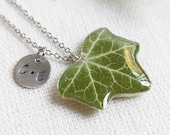 Custom initial necklace, Ivy leaf necklace, Birthday gifts for her, Mother and daughter necklace, Custom letter jewelry, Real leaf jewelry