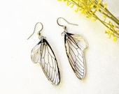 Fairy wings earrings dangle, Dragonfly wing earrings, Clear resin earrings, Fantasy jewelry for her, Butterfly earring, Transparent earrings