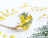 Meadow necklace, Terrarium flower necklace, Mimosa necklace, Real wildflower necklace, Dainty yellow gold necklace, Floral jewelry for gifts