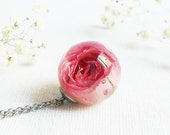 Resin rose necklace, Dried rose jewelry, Floral necklace, Special gift for woman, Aunt gift for birthday, Hot pink necklace Floral gift idea