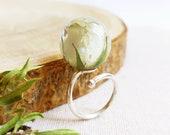 White rose flower ring, Real rosebud ring, Adjustable sterling silver ring, Rose resin jewelry, White flower ring 30th birthday gift for her