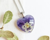 Violet flower necklace, Real pansy flower necklace, Light purple necklace, Birthday gift for women, Lilac flower necklace, Violet jewelry