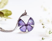 Dainty butterfly necklace, Tiny butterfly necklace, Whimsical necklace, Magical jewelry, Resin orb necklace, Birthday gifts for daughter