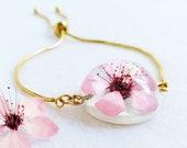 Dainty flower bracelet, Real Cherry Blossom flower jewelry, Stainless steel bracelet gold, Cute charm bracelet, Birthday gift for teen girl