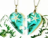 Best Friend Necklace Set for 2, Real Starfish necklace, Friendship necklaces for 2, Bff Heart necklace, Couple necklace, Real Moss necklace