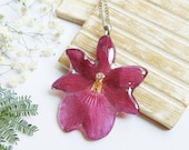 Pressed orchid flower necklace, Orchid resin necklace, Gifts for mother birthday, Preserved flower jewelry, Mom birthday gifts from daughter