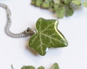 Eco necklace, Dried plant necklace, Eco friendly gifts for women, Organic necklace, Ivy plant jewelry, Green nature necklace, Eco jewelry