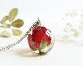 Rose Necklace, June birthday flower necklace, Rose birth flower necklace, June birthday gift for her, Birthflower jewelry,  Rosebud necklace