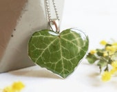 Ivy leaf necklace, Real leaf pendant, Heart shaped necklace, Real ivy leaf jewelry, Nature lover gift, Romantic gift for her, Nature pendant