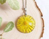 Pressed dandelion necklace, Yellow dandelion resin necklace, Summer jewelry, Gift for mom, Floral resin jewelry, Pressed wildflower necklace