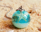 Blue sea necklace, Real starfish jewelry, Real seashell necklace, Blue aqua pendant, Sea ocean jewelry, Granddaughter gifts, Marine jewelry
