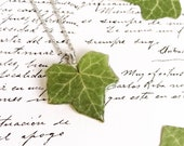 Pressed plant necklace, Ivy leaf necklace, Green leaf pendant, Vegan gifts for her, Real plant necklace, Vegan jewellery, Plant lover gifts