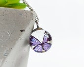 Purple butterfly necklace, Animal lover necklace, Cute animal jewelry, Clear ball necklace, Butterfly lovers gift, Thoughtfuls gift for her