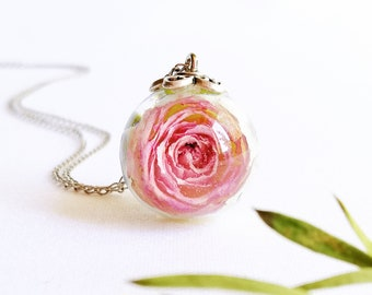 Hot Pink flower necklace Floral jewelry Polymer clay jewelry Rose jewelry Fuchsia pink rose necklace Black pink necklace Gift for her