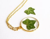 Green Ivy Leaf necklace, Dainty green necklace, Rustic wedding necklace, Nature bridesmaid gifts, Unusual necklaces for women, Leaf jewelry