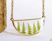Minimalist geometric necklace, Pressed fern necklace, Terrarium plant necklace, Semicircle necklace, Geometric necklace, Minimalist jewelry