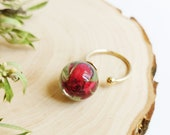 Real rose bud ring, Red rose resin ring, Romantic rose jewelry, Meaningful love gift, Statement red ring, i love you gift for girlfriend