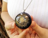 Dandelion Necklace, Real dandelion necklace, Large medallion necklace, Alternative necklace for her, Dandelion jewelry, Large round necklace