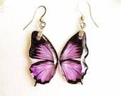 Purple butterfly earrings, Butterfly wings earrings, Animal lover earrings, Animal earrings dangle Butterfly resin jewelry Animal lover gift