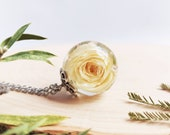 Real rose necklace, Resin necklace, Unique gift for mom, Rosebud pendant, White rose necklace, Real rose jewellery, Dried flower pendant