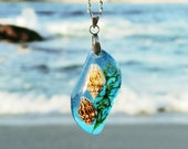 Mermaid necklace, Blue tear drop pendant, Seashell jewelry, Aqua blue necklace, Mermaid birthday gift, Mermaid jewellery, Cute gift for girl