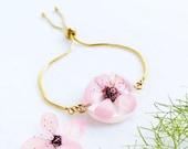 Cherry blossom charm bracelet, Real cherry blossom jewelry, Pink flower bracelet Pressed flower bracelet Real flower bracelet Sakura jewelry