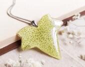 Light green leaf necklace, Ivy leaf necklace, Spring gift for teachers, Biology necklace, Graduation gift for women, Spring leaf jewelry