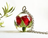 Red rose necklace, Real rose flower jewelry, Red flower necklace, Christmas gifts for women, Dainty crystal necklace, Tiny terrarium jewelry