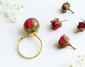 June Birth Flower Ring, Rose flower ring, June birthday gift ideas for her, Real flower resin ring, Birth flower ring, Red rosebud jewelry